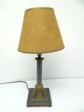 Painted Metal Small Blue Green Gold Electric Table Lamp Light with Shade Used