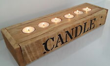 handmade solid wood rustic driftwood upcycle candle T/ tea light holder wooden