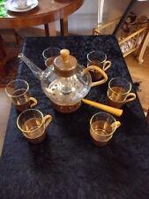 JENA GLAS  Teekanne mit 6 Gläsern und Stövchen W.Wagenfeld SCHOTT & GEN