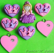HER MAJESTY Fairytale Queen Princess Girl Heart Dress It Up Craft Buttons Charms