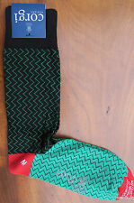 Corgi Mens Cotton Mix Socks Size Medium ZigZag Green Black & Red Made in Wales