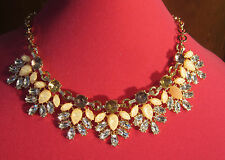 New Erica Lyons Pink Cab & Rhinestone Chunky Cluster Necklace