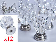 LIVIVO SET OF 12 DRAWER DOOR KNOB CRYSTAL DIAMOND CUPBOARD WARDROBE PULL HANDLES