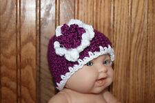 Hand crocheted girls newborn hat- Passion and white baby hat