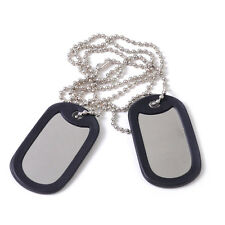 2pcs Silver Matte Military Army Blank Dog Tag With Stainless Steel Ball Chains