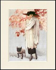 FRENCH BULLDOG AND LADY CHARMING DOG PRINT MOUNTED READY TO FRAME