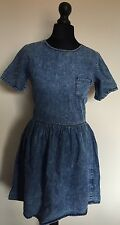 WOMENS ACID WASH DEMIM SKATER DRESS URBAN RENWAL FESTIVAL HIPSTER GRUNGE UK 6