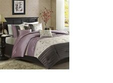 Luxury Embroidery Purple Floral  7-Piece-Comforter-Set-Bed-in-a-Bag Home Decor.