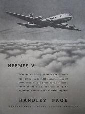 3/1947 PUB HANDLEY PAGE HERMES V AIRLINER BOAC BRISTOL THESEUS ORIGINAL AD