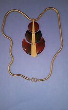 Vintage TRIFARI Signed AMBER Colored Lucite Pendant and Necklace in Gold Tone