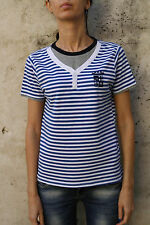 MARINA MILITARE Italy navy force T-SHIRT WOMENS STRIPED WHITE BLUE STRETCH L