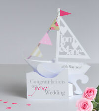 Personalised Pop-up Sailing Boat Card for a Wedding/Anniversary.