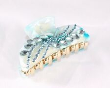 New Fashion Blue and White Sparkling Hair Clip Claw with Silver Rhinestones