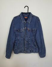 VTG BLUE ACID WASH URBAN RENEWAL TRUCKER DISTRESSED OVERSIZED DENIM JACKET M/L