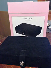 NIB Mele & Co. Maria Plush Jewelry Box Ring Case w/ Mirror Black