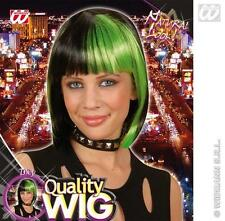 Ladies Black Bob Wig With Neon Green Streak Goth Halloween Fancy Dress
