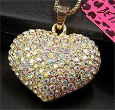 Stunning Betsey Johnson Swarovski Crystal Gold Puffed Heart Pendant Necklace NWT