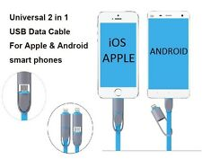 2 in 1 USB Data Cable - Charger Cable For iPhone and Android phones