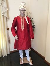 "40"" Large 100cm Silk Sherwani Suit Indian Bollywood Mens Kurta EID Maroon HL7"