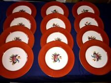 "12 Vintage Noritake 11"" Dinner Plates Floral Center w/Red Rim Band & Gold Edge"