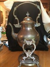Antique Rare Elegant ORNATE BRASS TEA POT /KETTLE with BRASS TILT STAND & BURNER