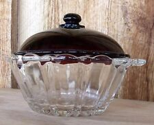 VTG ANCHOR HOCKING OLD CAFE Depression Glass Covered Dish Bowl Clear Ruby Red