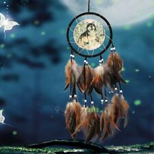 Handmade Dream Catcher With Feathers Wall Hanging Decor Ornament-Wolf Craft Gift