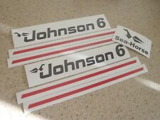 Johnson Sea Horse 6 HP Outboard Motor Decal Kit Vintage + Free Fish Decal!