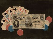 AMERICAN 19TH CENTURY FULL HOUSE CHIPS 5 BILL OLD ART PAINTING POSTER BB4834A