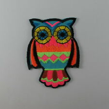 OWL MULTICOLORED EMBROIDERED SEW IRON ON PATCH MOTOCYCLE T-SHIRT JACKET JEAN CAP