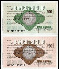 BANCO DI SICILIA 25/10/1977 BICATEX di BISCARI e CATANIA- MODICA L.100+150 FDS