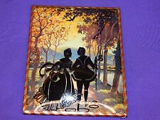VINTAGE SILHOUETTE PICTURE FRAME COUPLE WALKING BY THE RIVER HOLDING HANDS