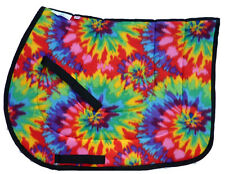 "NEW! ""TIEDYE"" PSYCHEDELIC ENGLISH JUMPING ALL PURPOSE SADDLE PAD yellow red"