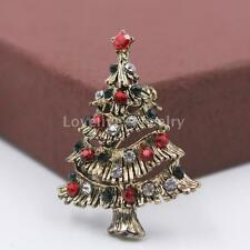 Vintage Crystal Rhinestone Christmas Tree Brooch Pin Xmas Banquet Broach Gifts