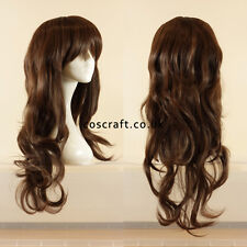 Long wavy curly cosplay wig with fringe matt dark brown UK SELLER, Charlie style