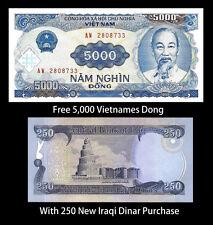 Iraq Iraqi Dinar 250 + Recieve A Free 5000 5,000 Vietnamese Dong - U.S.A Seller