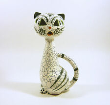 "ART DECO BLACK & WHITE RETRO CAT SITTING 8.5"", VINTAGE CERAMIC FIGURINE !"