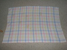 BABY BLANKET HOSPITAL PLAID KNIT COTTON PASTEL UNISEX GENDER NEUTRAL OPEN KNIT