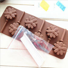 6-Sunning Flower Silicone Lollipop Mold Sticks Baking Hard Candy Pop Mould Tray