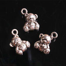 20pcs 15mm Charms 3D Bear Cute Pendant Tibet Silver DIY Jewelry Charm Bail A7686