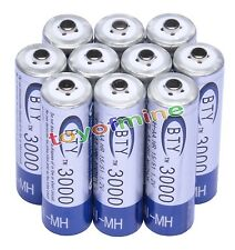 10pcs AA 3000mAh 1.2 V Ni-MH rechargeable battery BTY for RC Toys Camera MP3