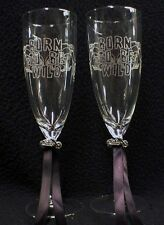 COOL Bride & Groom Wedding Toasting glasses w/ Harley Davidson Motorcycle Charm