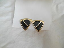 Trifari signed gold tone w/black enemal clip back earrings