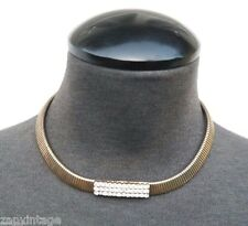 Vintage 1950's Gold Tone Chain W/ Faux Diamonds Choker Costume Jewelry Necklace