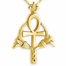 Egyptian Ankh Cross Charm Pendant #14K Gold Plated Sterling Silver Azaggi P0172G