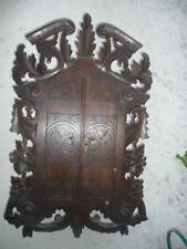 HUGE ANTIQUE BLACK FOREST FLORAL CARVED WALL CABINET for MEDICINE, STORAGE.....