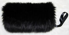 Wide and Long BLACK FAUX FUR FLUFFY HAND WARMER  MUFF BRIDAL WEDDING FORMAL NWT