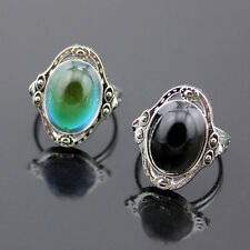 Boho Silver Mood Ring Changing Color Adjustable Temperature Control Jewelry Gift