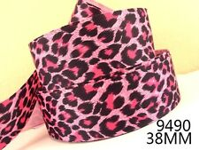 "Pink Leopard Print Ribbon 1"" wide 1m is only £0.99  NEW"