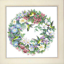 Season: Humming Bird & Flowers Wreath@ RS floss-New 14 counted cross stitch kit